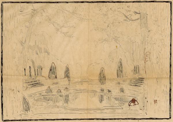 Dessin préparatoire d'un fond de décor de théâtre représentant un bassin dans un jardin à la française entouré d'arbres.