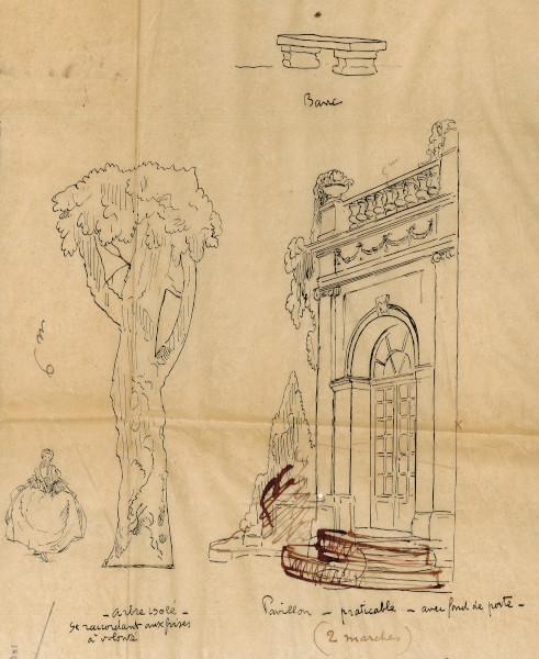 """Détails d'un dessin préparatoire de décor de théâtre représentant la silhouette d'un arbre (""""arbre isolé""""), d'un pavillon et d'un banc."""