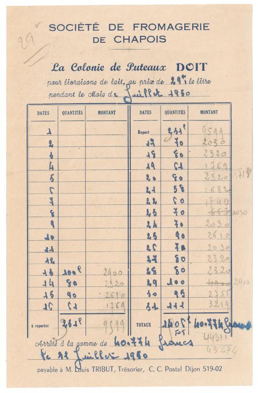 Facture de lait de la Société de Fromagerie de Chapois pour la colonie de Puteaux, juillet 1950, AMP, 172W70.
