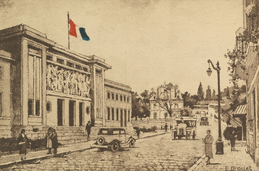 Carte postale: E. Drouet, L'entrée de l'Hôtel de Ville de Puteaux, milieu du XXe siècle, AMP, 2Fi318.