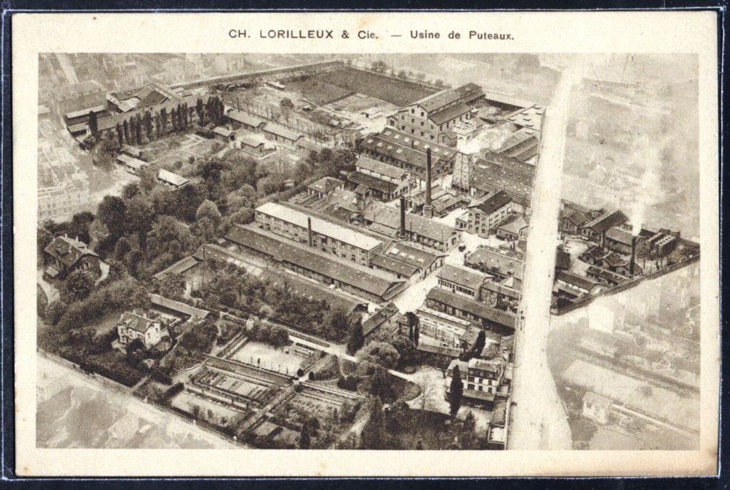Vue aérienne de l'usine Lorilleux, début du XXe siècle, AMP, 2Fi621.